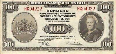 Netherlands Indies  100  Gulde  2.3.1943  P 117a  Series HK  Circulated Banknote