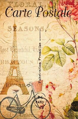 Postcard French Vintage Shabby Chic Style Paris Eiffel Tower Bicycle Floral 71J