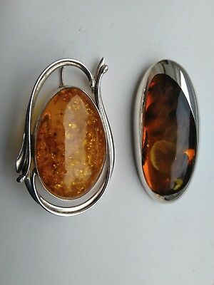 Superb Quality Pair Of Large Sterling Silver & Amber Pendant/brooch.