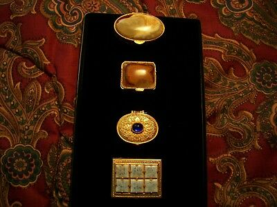 Vintage Four Miniature Metal Pill Boxes with Stones!
