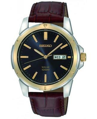 Seiko SNE102P9 Gent's Solar Two-Tone Day Date Leather Strap Watch RRP £169.00