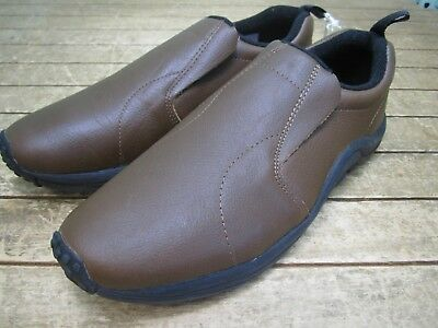 Mens Cotton Traders Comfort Leather Slip on Shoes Tan brown Size 10 New *