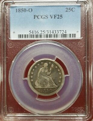 1850-O Seated Liberty Quarter, PCGS VF 25, Better Date