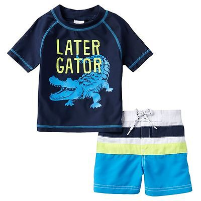 c16abbed67ed CARTER S BLUE   Yellow Shark Swimsuit   Rash Guard Top Infant Baby ...