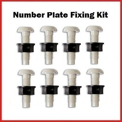 8 White Plastic Number Plate Screws & 8 Black Nuts Bolts Fixings Fittings Fixers