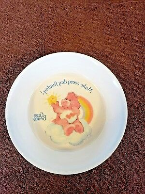 Vintage SiLite Care Bears Melmac Bowl, Make Everyday Fun Day! Upside Down Decal
