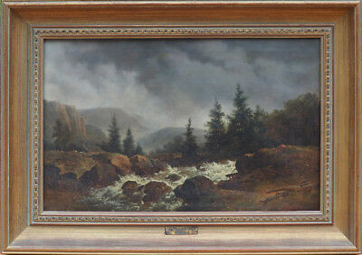 Landscape with stream antique oil painting by Remi Van Haanen / Remigius Haanen