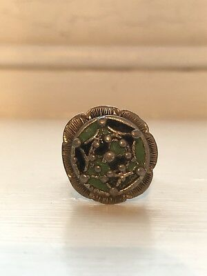 Ancient Byzantine silver, green and black enamel ring with bead decoration