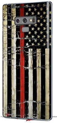 Skin for Samsung Galaxy Note 9 Painted Cracked Red Line USA American Flag