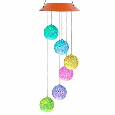 Dichoso Solar Wind Chime Outdoor LED Power Color Changing Crystal Ball Wind Mobi