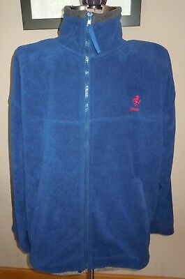 L@@k! Mens Ferrari Race Car Fleece Jacket Coat Navy Blue Grey Super Warm Large L