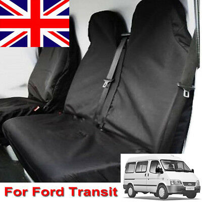 DELUXE BLACK//RED VAN SEAT COVERS SINGLE DOUBLE 2-1 FORD TRANSIT 2009