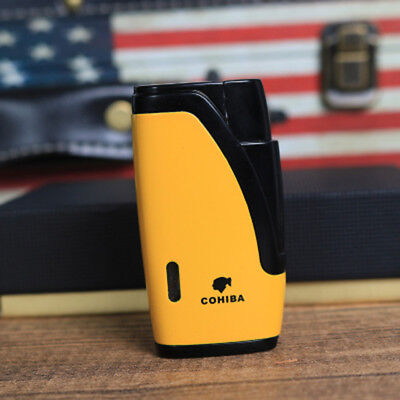 Cohiba Yellow Metal Wind-Proof 2 Torch Jet Flame Cigar Cigarette Lighter W/punch