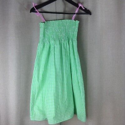Lilly Pulitzer Checker Green/White/Pink Dress Spaghetti Strap Easter Vtg Sz 10