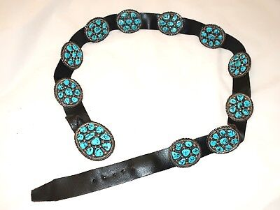 Fabulous Signed TOMMY MOORE Vintage Turquoise Sterling Silver Navajo Concho Belt