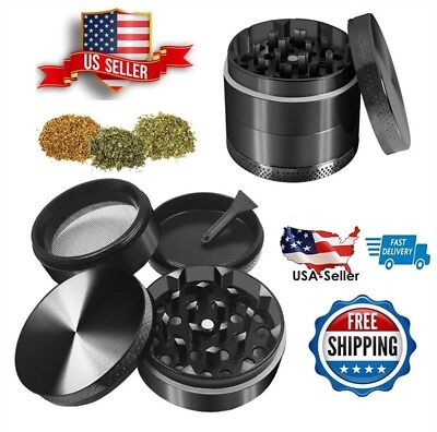 "2"" Tobacco Herb Grinder Spice Herbal Smoke Crusher Zinc Alloy 4 Piece Magnetic"
