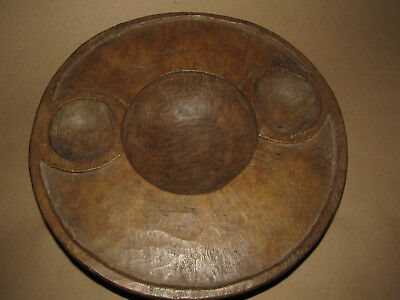 Vintage Wood Carved Ifugao Tribal Three Cavity Food Bowl From Luzon Philippines