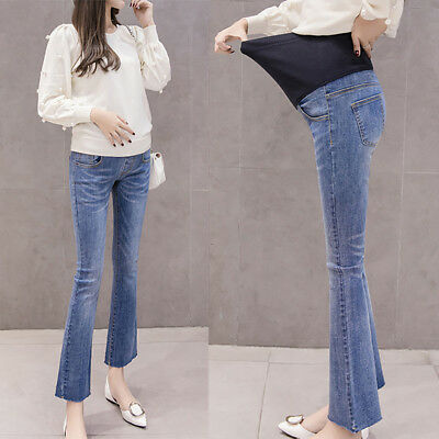 Women Female Maternity Pregnancy Flare Pants Trousers Jeans Elastic Long Pants