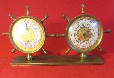 Vintage Swift & Anderson Brass Ships Wheel Temperature Humidity Barometer.