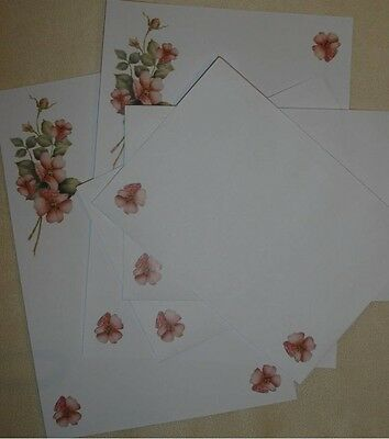 Wild Roses letter writing paper & envelopes stationery  - Cute set
