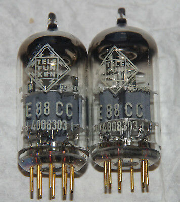 2x Telefunken E88CC - perfect matched pair - same date code - test very strong