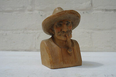 Black Forest Wood Carving, Man with Pipe, Antique Vintage Woodcarving.