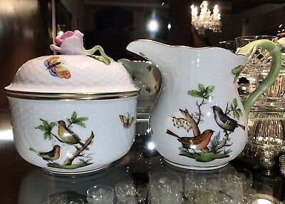 Herend Hungary Handpainted Rothschild Bird Lidded Sugar #1643 & Creamer #1663