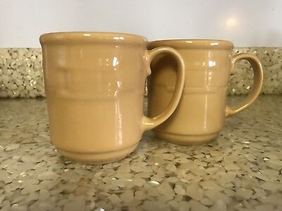 Longaberger Pottery Woven Traditions Lot of 2 Coffee Mugs Butternut Yellow