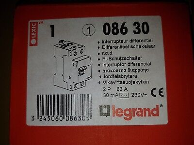Differential switch single phase RCD 63a 30ma, legrand 08630, type ac, 63 amp