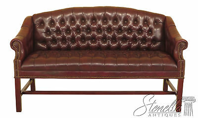 46224EC: Chippendale Faux Leather Tufted Chesterfield Petite Settee Or Sofa