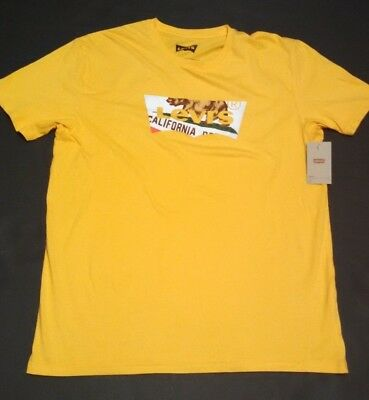 Mens Levis Batwing T-Shirt XL Bear Logo Short Sleeve Tee Yellow