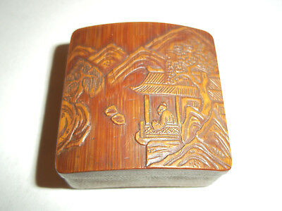 Unusual Antique Miniature Chinese / Japanese Carved Box - Signed