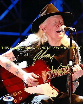 JOHNNY WINTER SIGNED AUTOGRAPHED 8x10 RP PHOTO WITH GUITAR