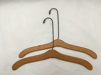 Lot of 2 Antique / Vintage Wood & Heavy Wire Department Store Clothes Hangers