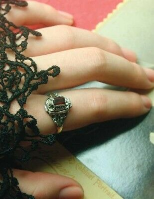 Gothic Victorian Style Poison Ring with Hidden Compartment Size 7