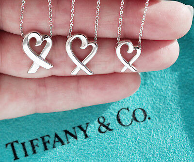 Tiffany & Co Paloma Picasso Sterling Silver Loving Heart Pendant Necklace