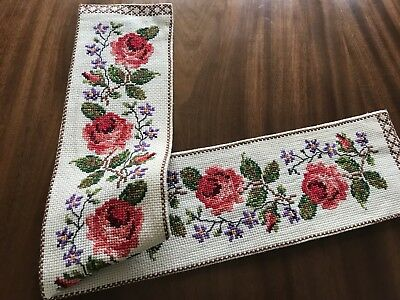 """VINTAGE HAND EMBROIDERED ROSES CROSS STITCH RUNNER TABLE Centre CLOTH 35X5.5"""""""