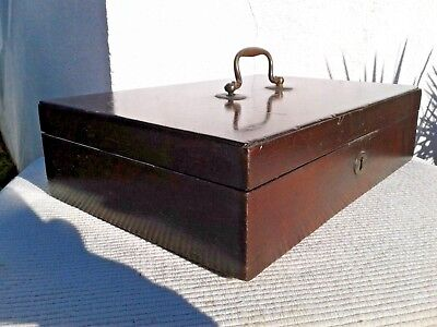 Antique Vintage Wooden Money Cash Deed Storage Box