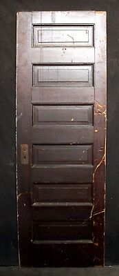 "27""x78"" Antique Vintage Interior Solid Wood Wooden Door Horizontal Stacked Panel"