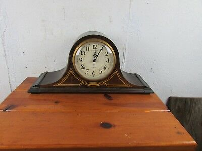 Plymouth Clock Mantle Vintage Art Deco Tambour Camel Back Shelf Chime  Great