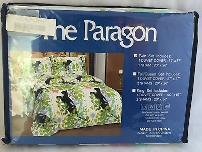 The Paragon Black Cat Twin Duvet Cover & Sham Cats in the Garden Butterfly NEW
