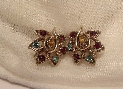 VINTAGE GOLD COLOUR 1950s MULTI COLOUR RHINESTONE SIGNED CLIP ON EARRINGS