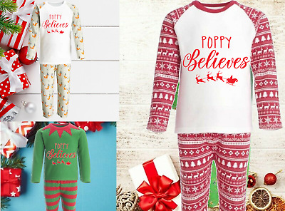 Personalised Christmas Eve Pyjamas PJs Reindeer Kids Baby's 1st Custom Text Elf