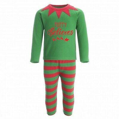 Elf Personalised Christmas Eve Pyjamas PJs Reindeer Kids Baby's 1st Custom Text