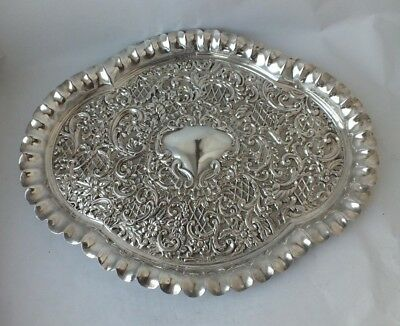 Antique Chester 1899 Solid Sterling Silver Embossed Tray/ L 32.5 cm/ 309 g