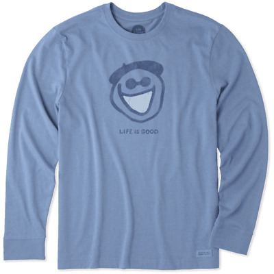9e4216131ac Life is Good Men s Long Sleeve Crusher T - Original Jake on Heather Vintage  Blue