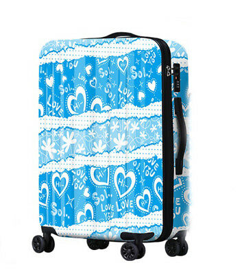 E773 Lock Universal Wheel Blue Heart Travel Suitcase Cabin Luggage 20 Inches W