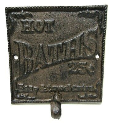 """Vintage-Style Cast Iron """"Hot Baths 25 Cents"""" English Towel Robe Hook Plaque Sign"""