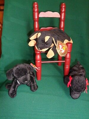 Ty Beanie Babies Black Dogs Lot of 3 Retired  includes Doby the Doberman