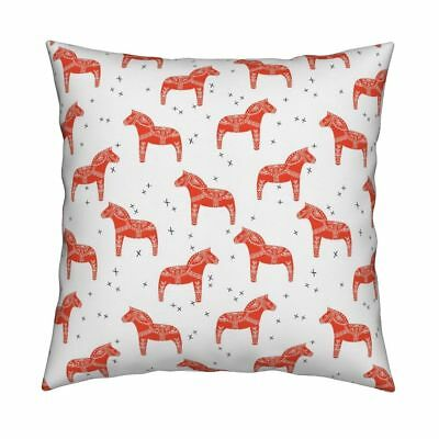 Scandinavian Swedish Dala Horse Throw Pillow Cover w Optional Insert by Roostery